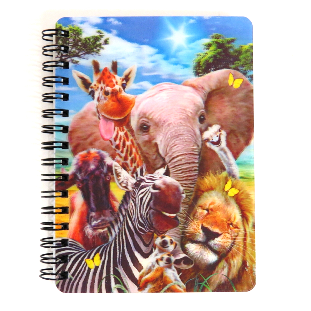 Super 3D Moving Cover A6 Wirebound Notebook, Africa Selfie