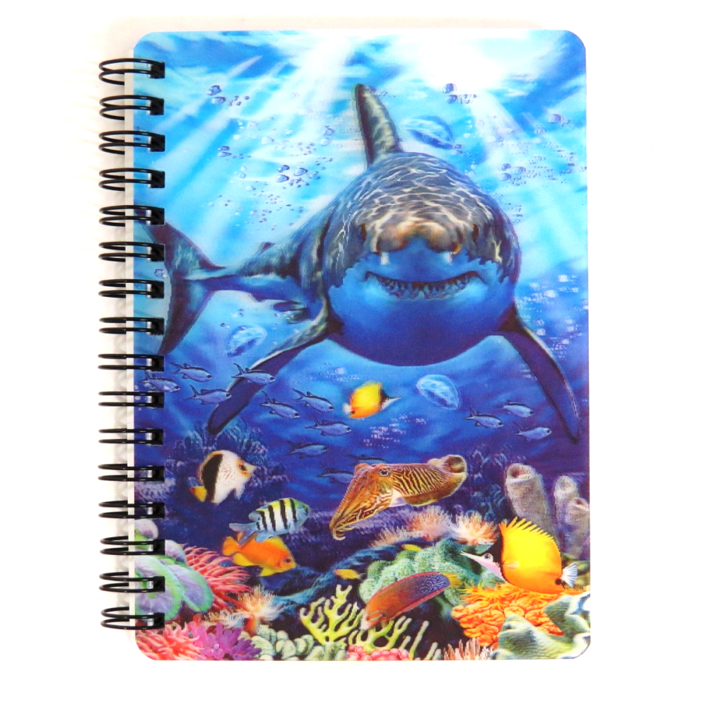 Super 3D Moving Cover A6 Wirebound Notebook, Great White Shark