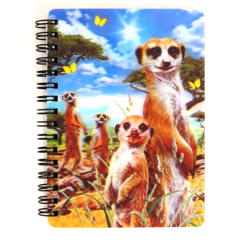 Super 3D Moving Cover A6 Wirebound Notebook, Meerkats