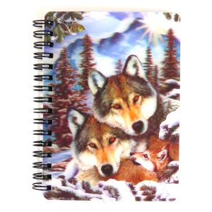 Super 3D Moving Cover A6 Wirebound Notebook, Wolf Harmony