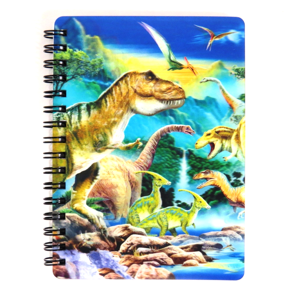 Super 3D Moving Cover A6 Wirebound Notebook, Dinosaur Valley