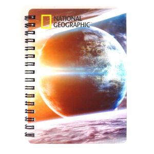 Super 3D Moving Cover A6 Wirebound Notebook, Earth and Sun