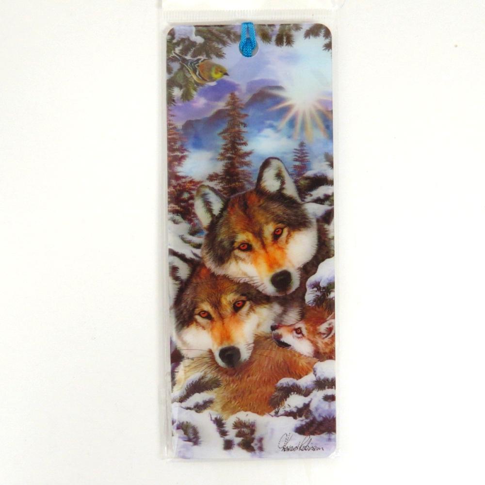 Howard Robinson Super 3D Moving Bookmark, Wolf Harmony