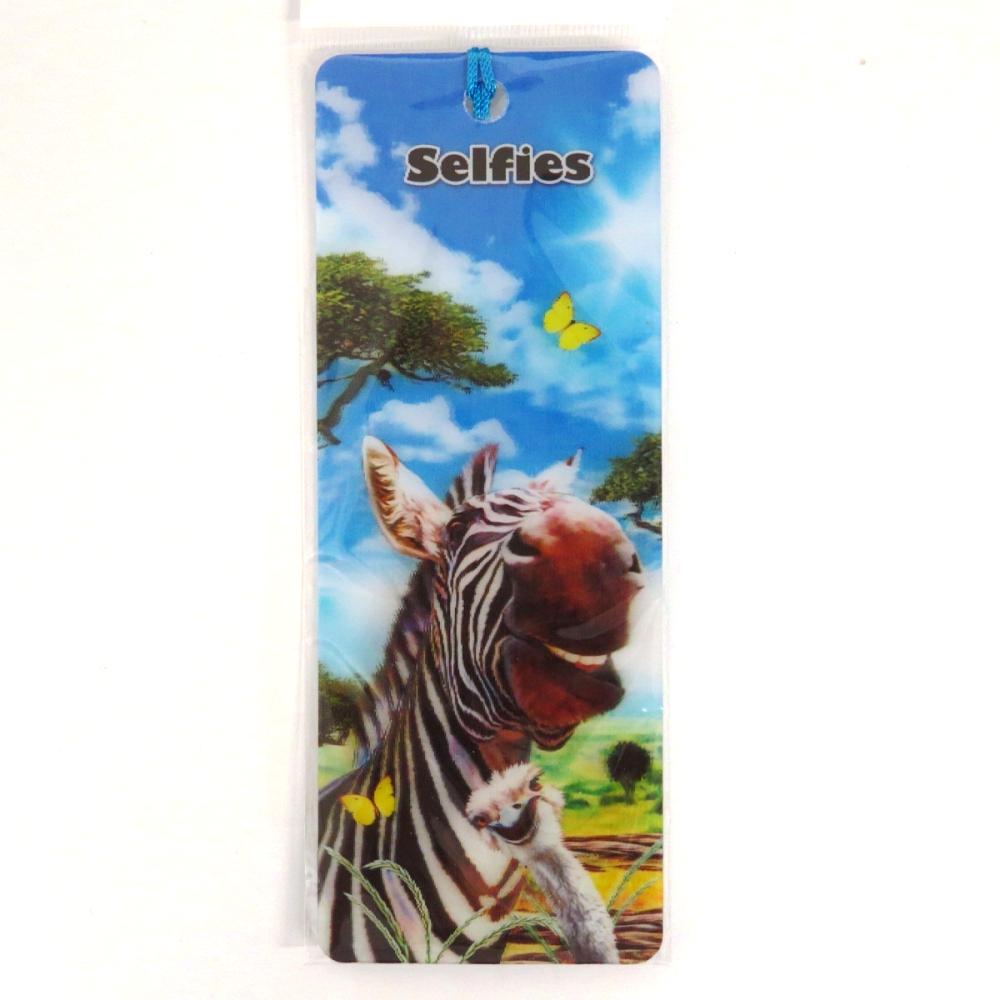 Howard Robinson Super 3D Moving Bookmark, Zebra Selfie