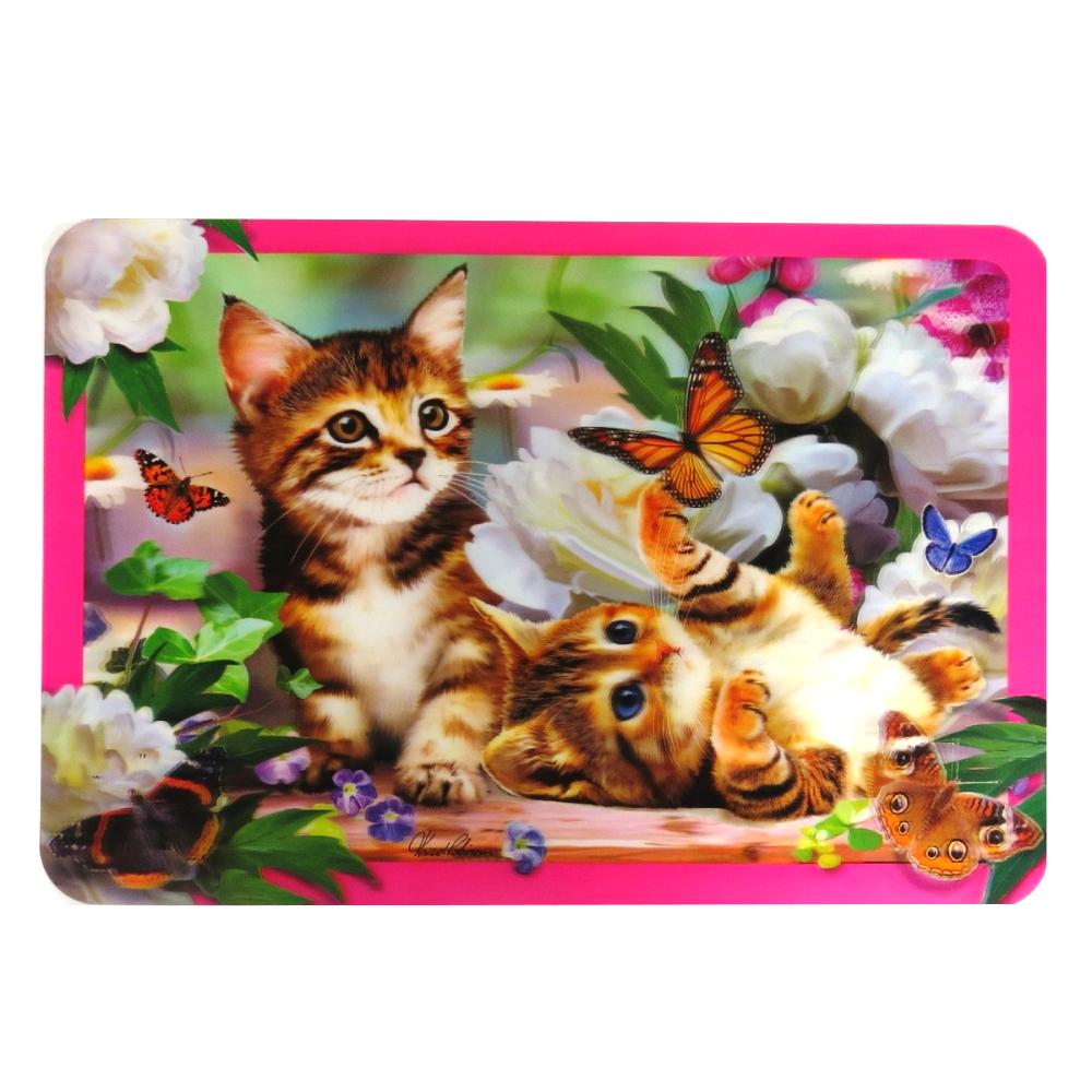 Super 3D Moving Animal Placemat, Kitten Playtime