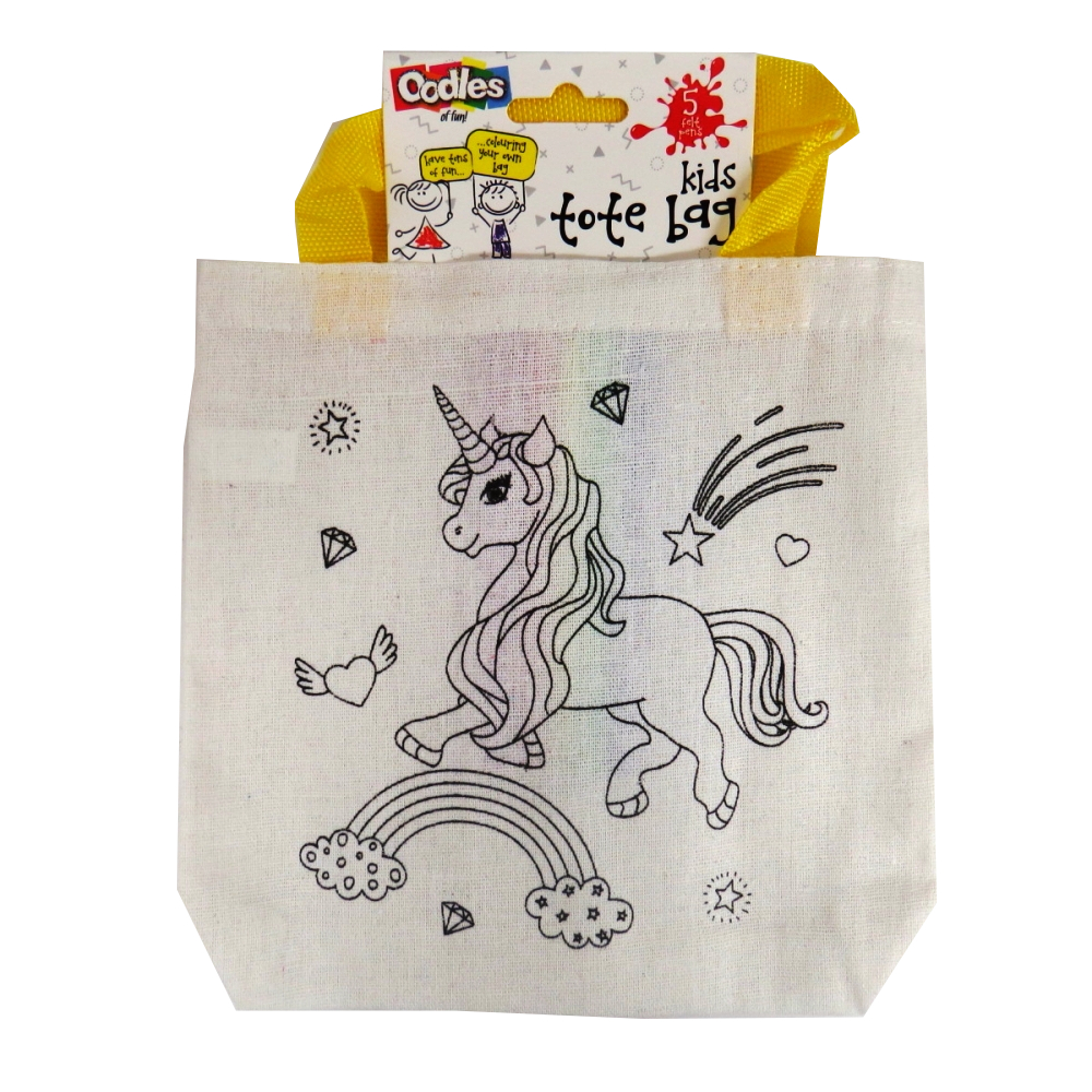 Oodles Colour Your Own Tote Bag & Felt Tips - Unicorn, Rainbow and Sparkle
