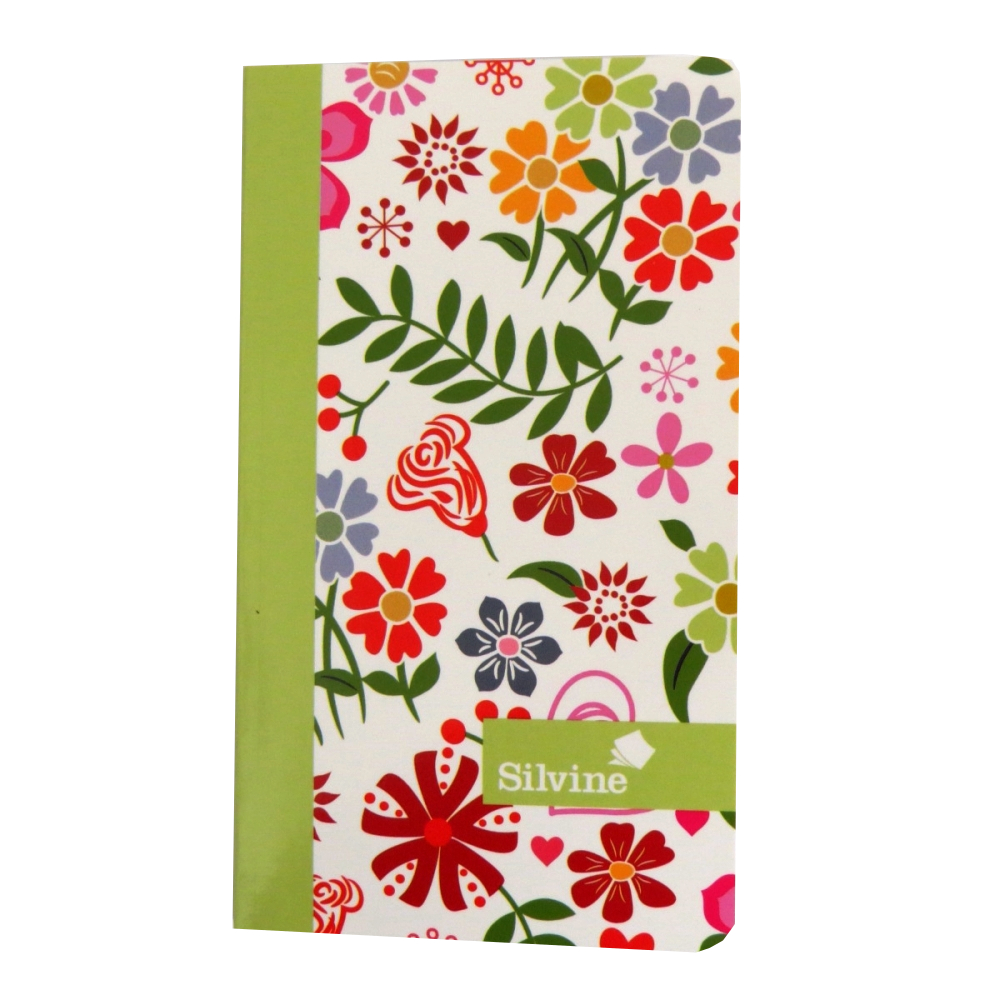 Marlene West Slim Writing Notebook Floral Green