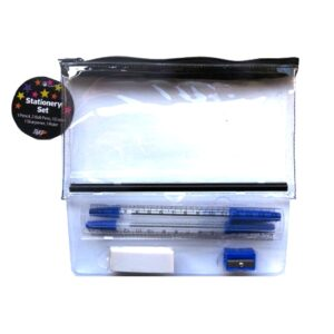 Clear Pencil Case Stationery Set Open