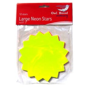 Neon Large Stars - Pack of 12 - 152mm x 152mm