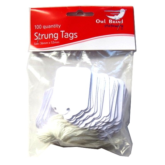 White Strung Pricing Tags - Pack of 100