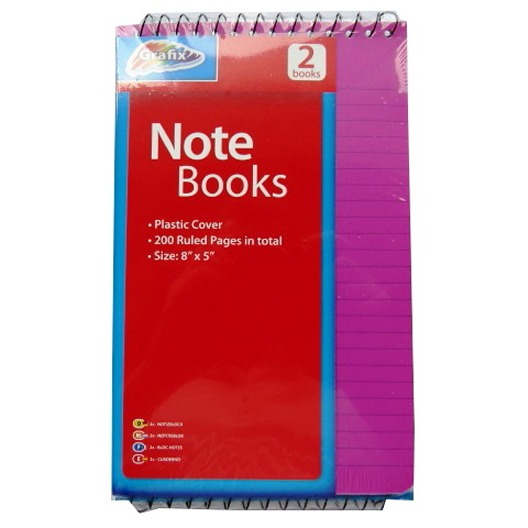 Spiral Notebooks with Plastic Cover - Pack of 2