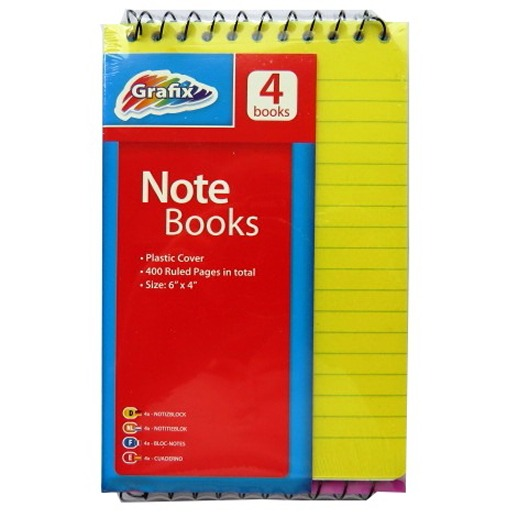 Spiral Notebooks with Plastic Cover - Pack of 4