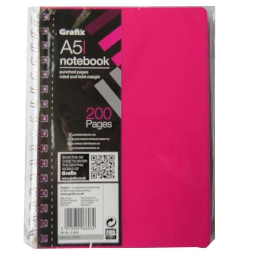 A5 Premium Wirebound Notebook - Dark Pink