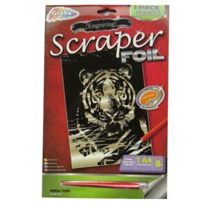 Engraving Scraper Foil Pack – Bengal Tiger, Gold Foil