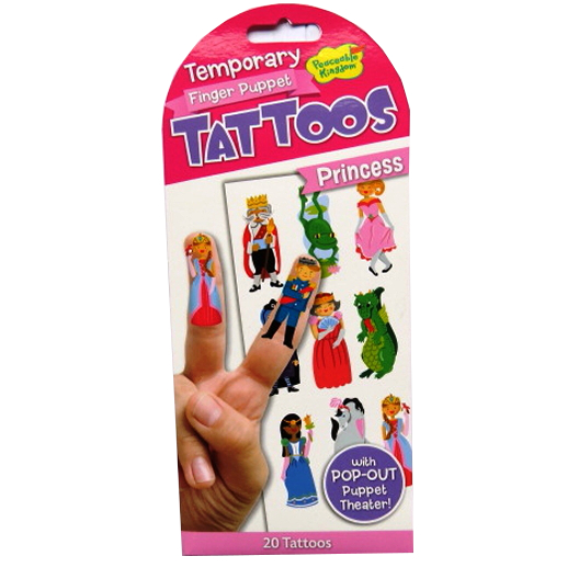 Finger Puppet Temporary Tattoos with Puppet Theater - Princess
